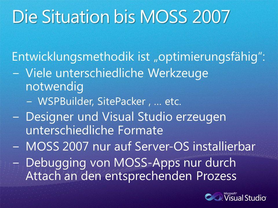 """Die Situation bis MOSS 2007 Entwicklungsmethodik ist """"optimierungsfähig : Viele unterschiedliche Werkzeuge notwendig."""