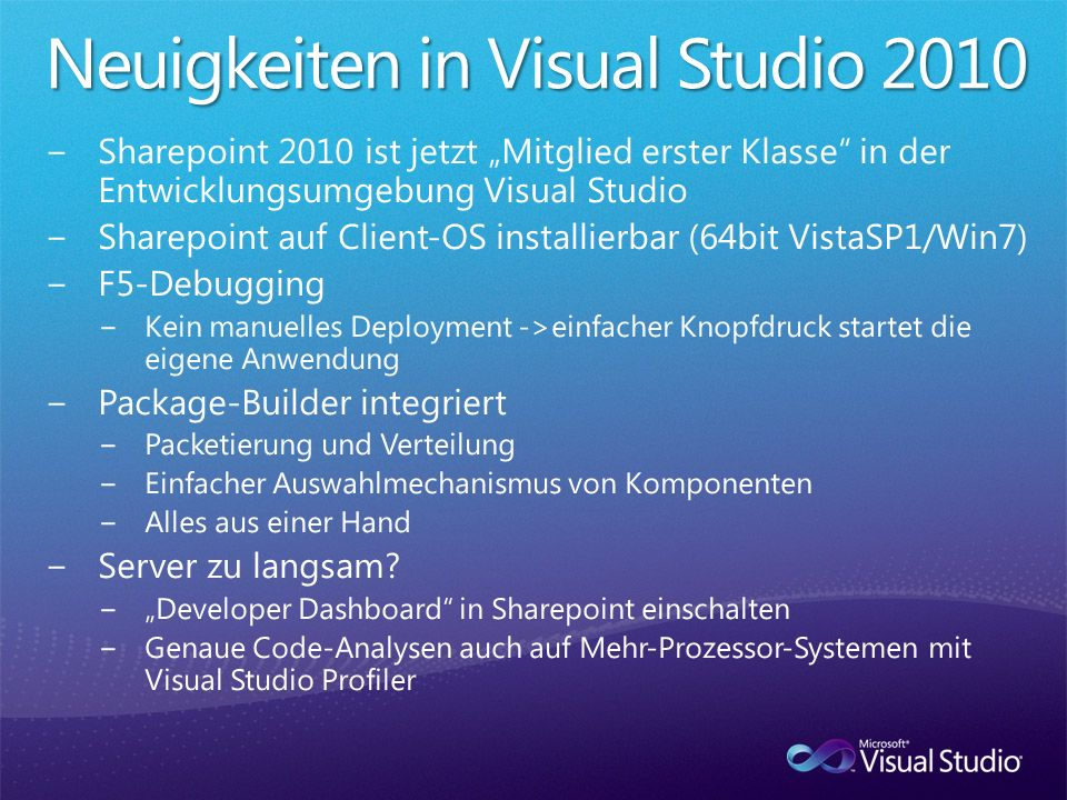 Neuigkeiten in Visual Studio 2010