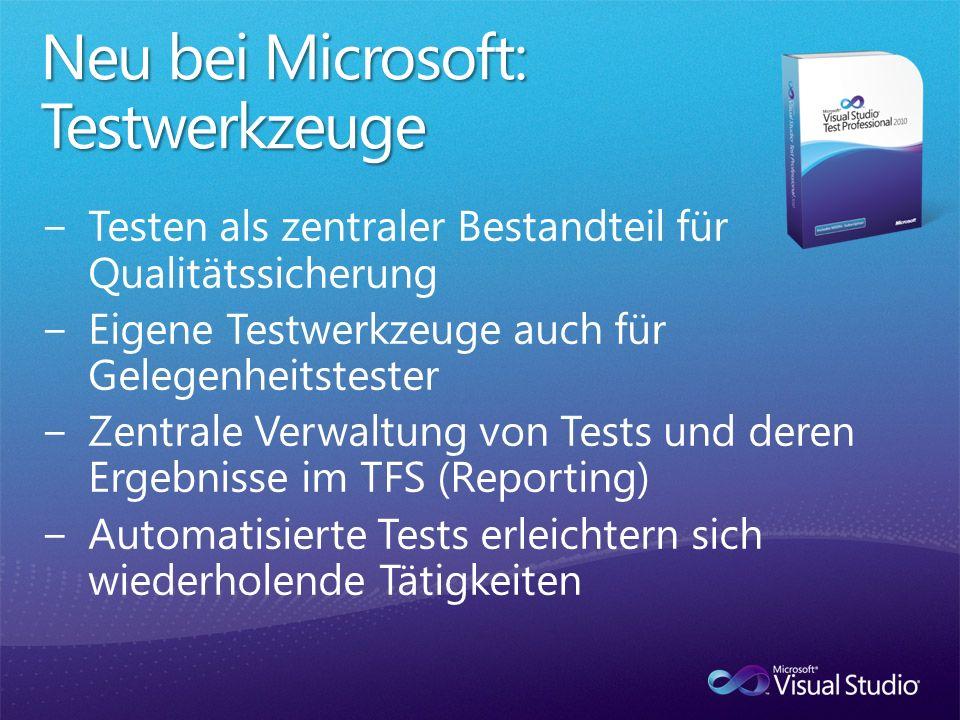 Neu bei Microsoft: Testwerkzeuge
