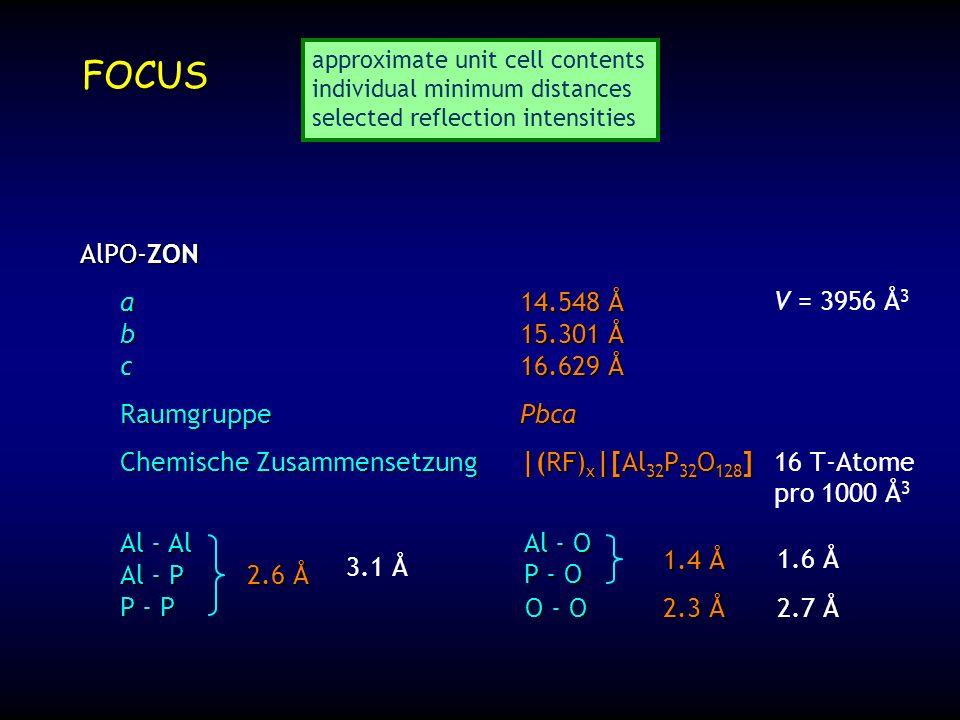 FOCUS AlPO-ZON a 14.548 Å b 15.301 Å c 16.629 Å Raumgruppe Pbca