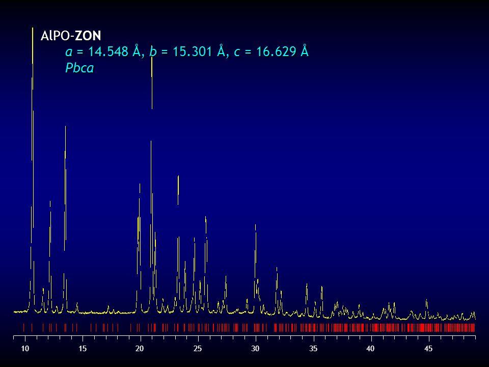 AlPO-ZON a = 14.548 Å, b = 15.301 Å, c = 16.629 Å Pbca 10 15 20 25 30