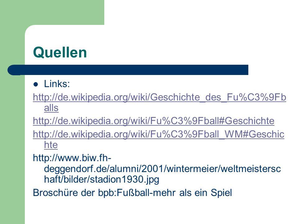 Quellen Links: http://de.wikipedia.org/wiki/Geschichte_des_Fu%C3%9Fballs. http://de.wikipedia.org/wiki/Fu%C3%9Fball#Geschichte.