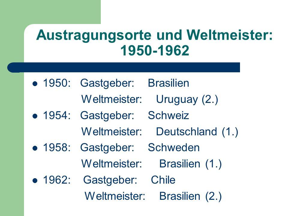 Austragungsorte und Weltmeister: 1950-1962