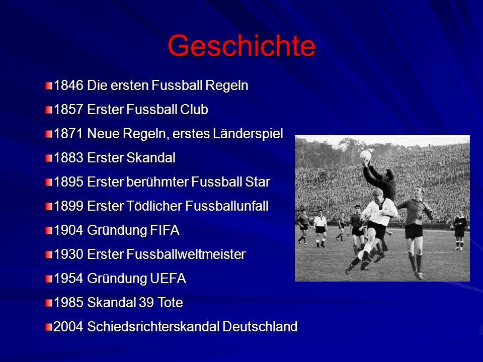 Geschichte 1846 Die ersten Fussball Regeln 1857 Erster Fussball Club