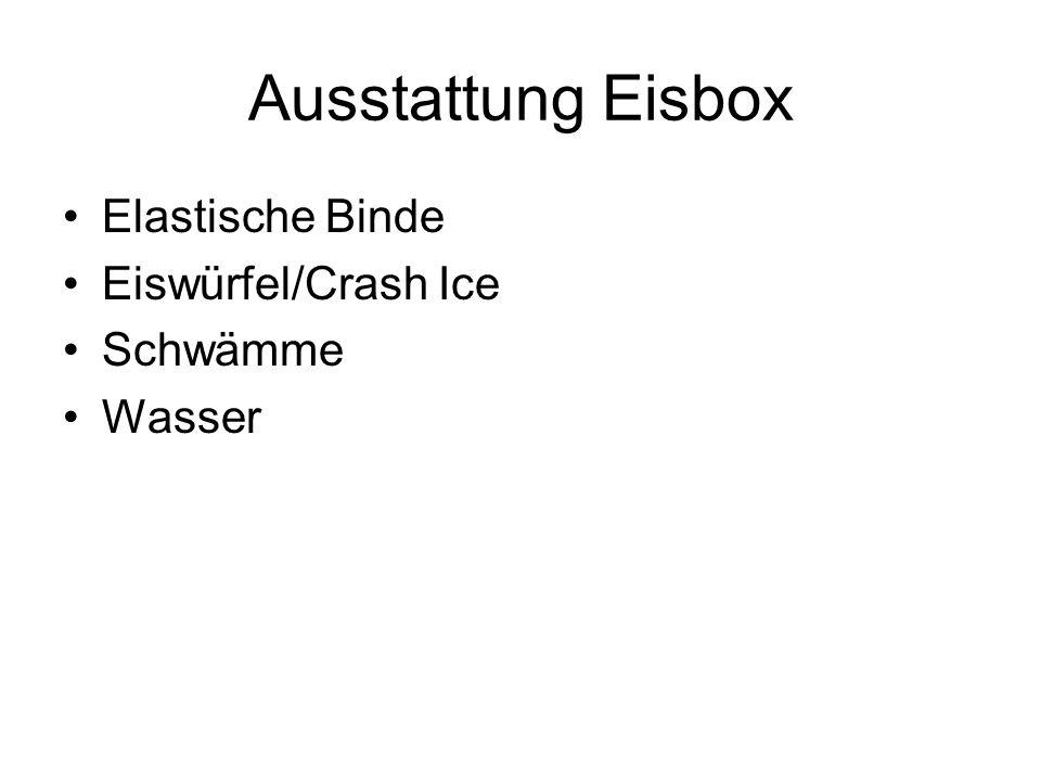 Ausstattung Eisbox Elastische Binde Eiswürfel/Crash Ice Schwämme