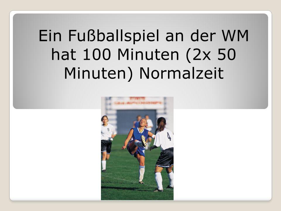 Ein Fußballspiel an der WM hat 100 Minuten (2x 50 Minuten) Normalzeit