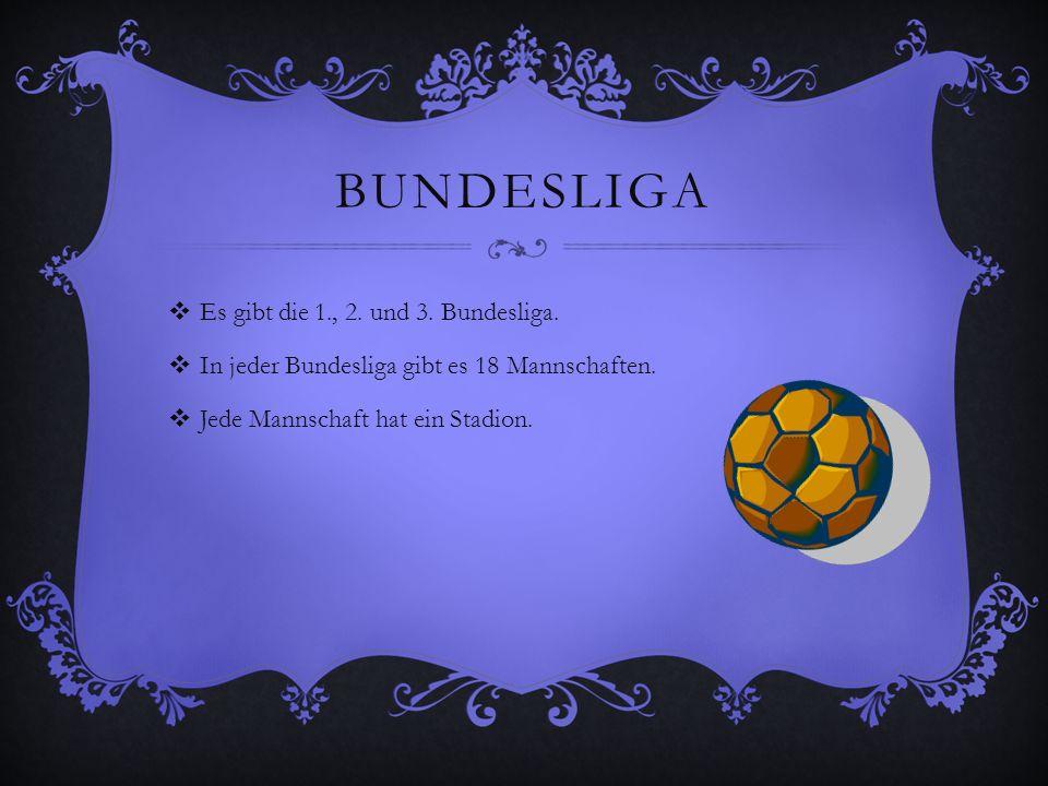 Bundesliga Es gibt die 1., 2. und 3. Bundesliga.