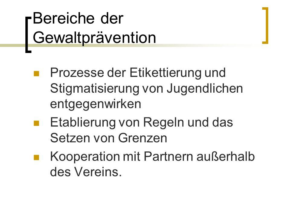 Bereiche der Gewaltprävention
