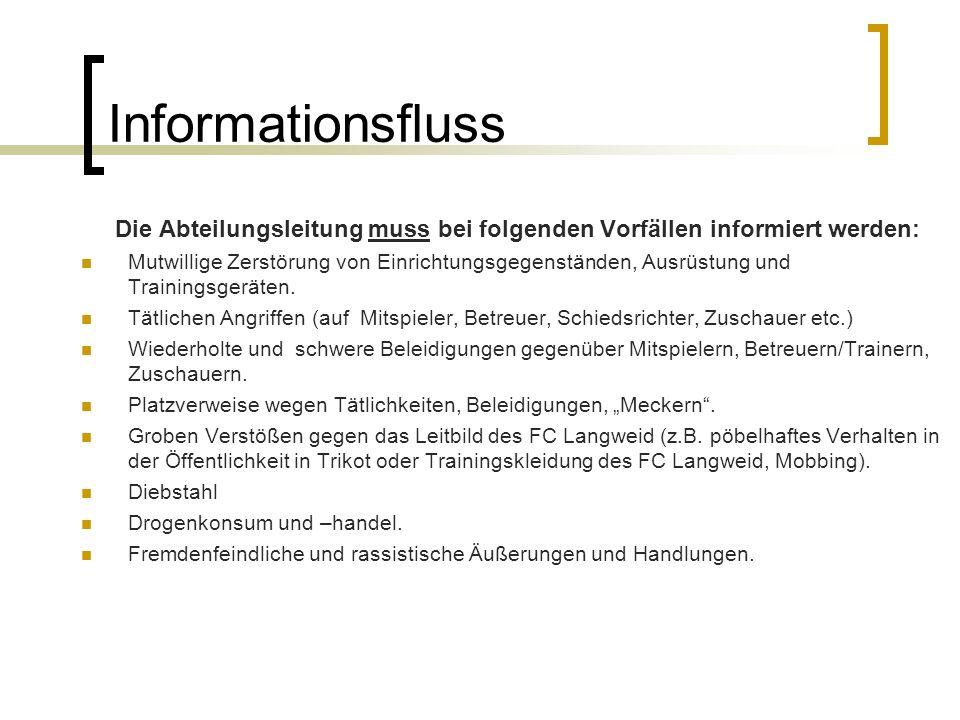 Die Abteilungsleitung muss bei folgenden Vorfällen informiert werden: