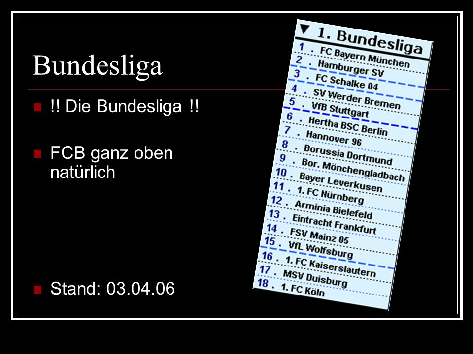 Bundesliga !! Die Bundesliga !! FCB ganz oben natürlich