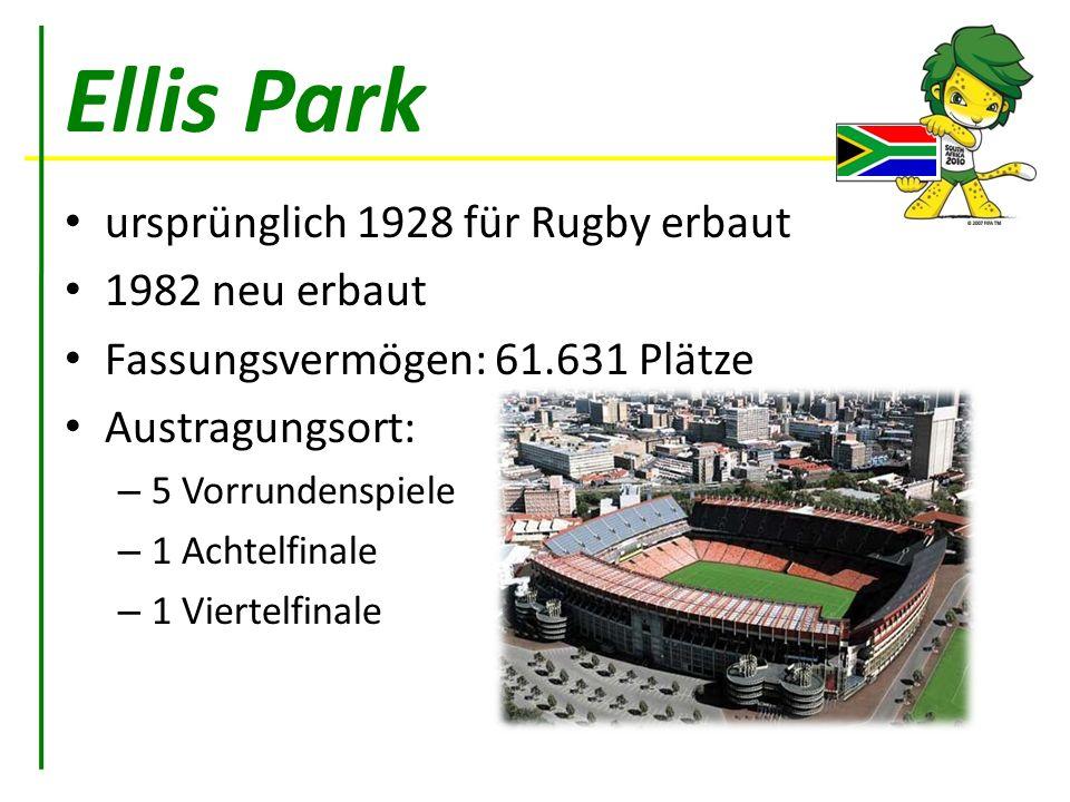 Ellis Park ursprünglich 1928 für Rugby erbaut 1982 neu erbaut