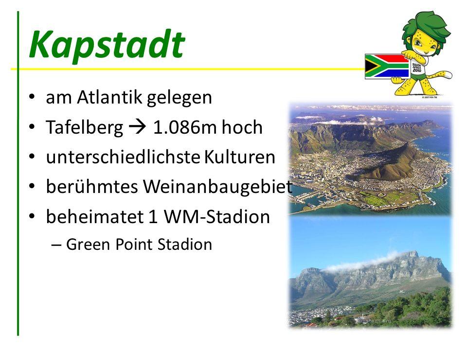 Kapstadt am Atlantik gelegen Tafelberg  1.086m hoch