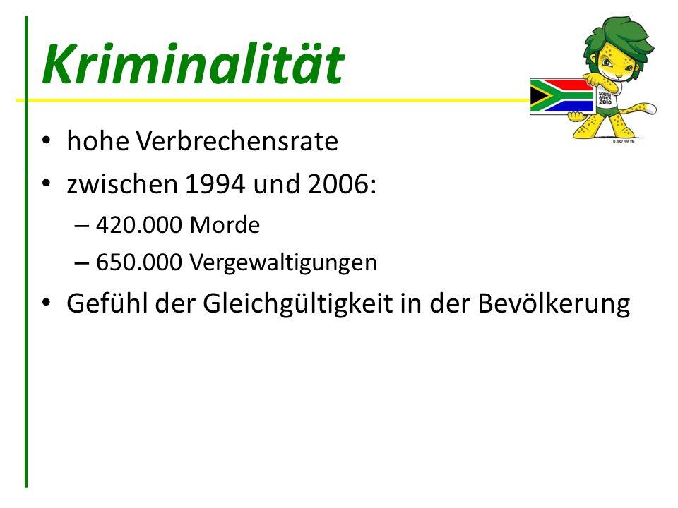 Kriminalität hohe Verbrechensrate zwischen 1994 und 2006: