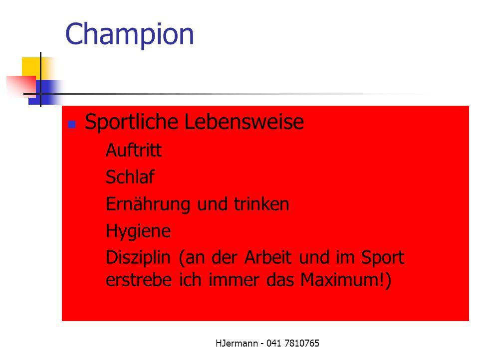 Champion Sportliche Lebensweise Auftritt Schlaf Ernährung und trinken