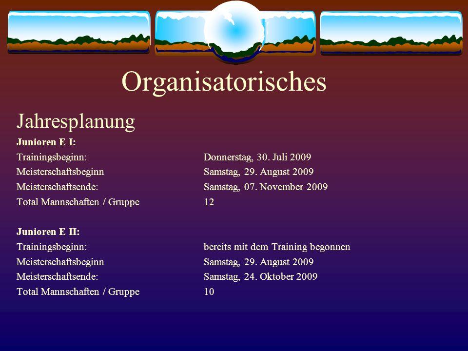Organisatorisches Jahresplanung Junioren E I:
