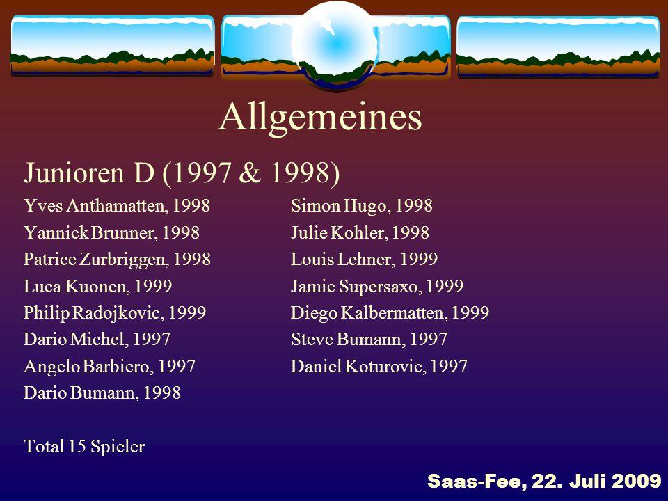 Allgemeines Junioren D (1997 & 1998)