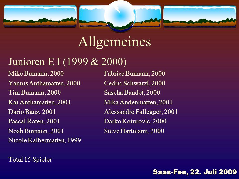 Allgemeines Junioren E I (1999 & 2000)