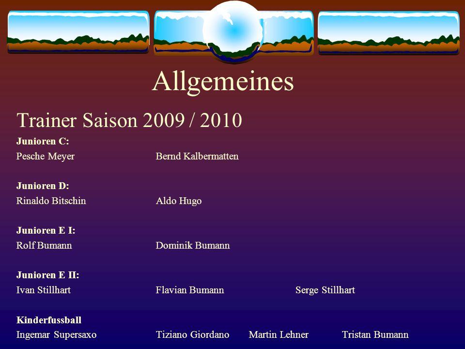 Allgemeines Trainer Saison 2009 / 2010 Junioren C: