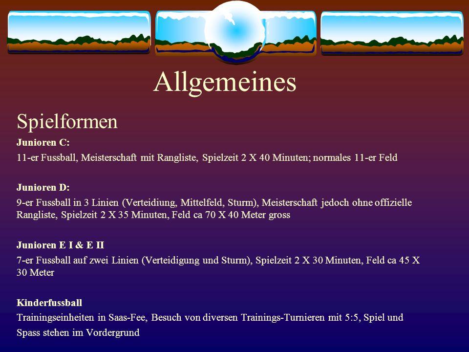 Allgemeines Spielformen Junioren C: