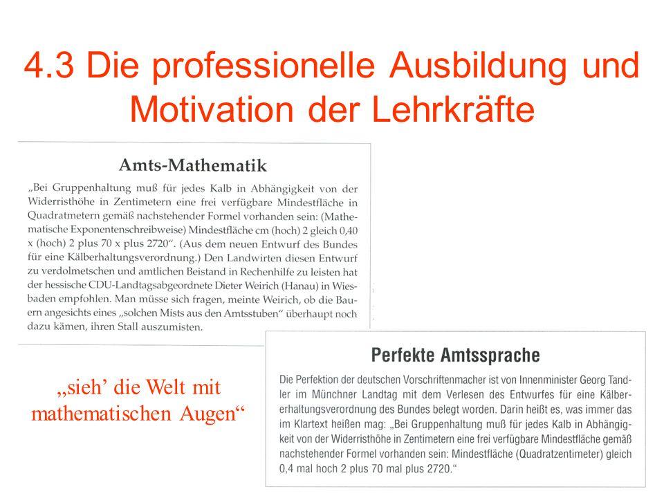 4.3 Die professionelle Ausbildung und Motivation der Lehrkräfte