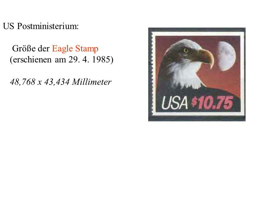 US Postministerium: Größe der Eagle Stamp (erschienen am 29. 4. 1985) 48,768 x 43,434 Millimeter