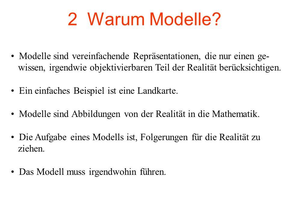 2 Warum Modelle Modelle sind vereinfachende Repräsentationen, die nur einen ge-
