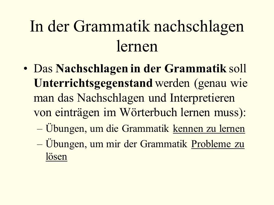 In der Grammatik nachschlagen lernen