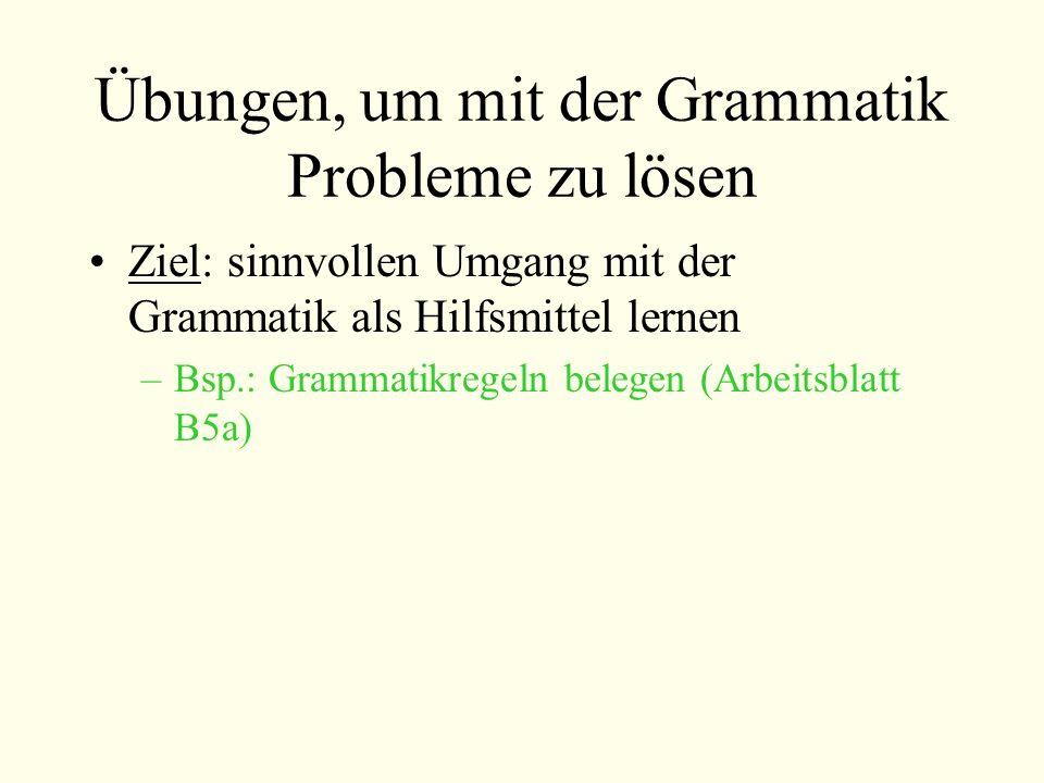 Übungen, um mit der Grammatik Probleme zu lösen