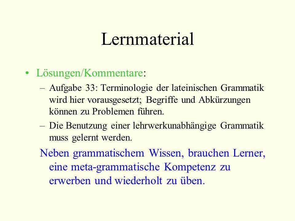 Lernmaterial Lösungen/Kommentare: