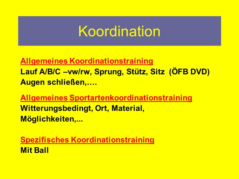 Koordination Allgemeines Koordinationstraining