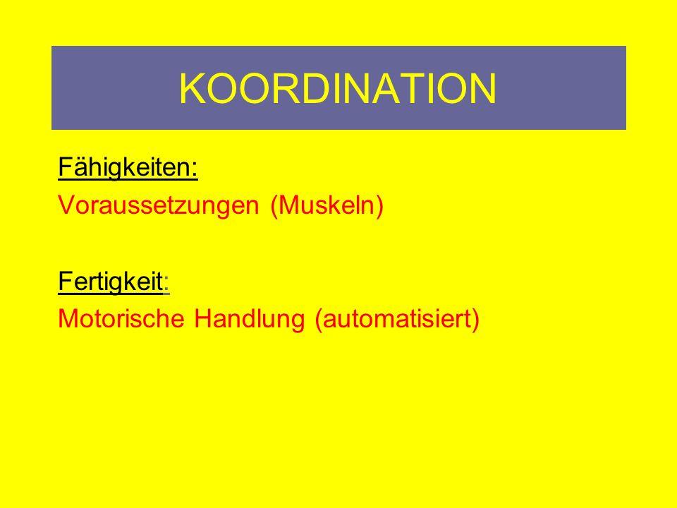 KOORDINATION Fähigkeiten: Voraussetzungen (Muskeln) Fertigkeit: