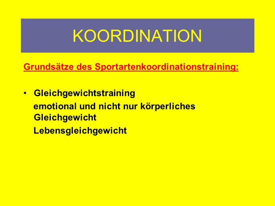 KOORDINATION Grundsätze des Sportartenkoordinationstraining:
