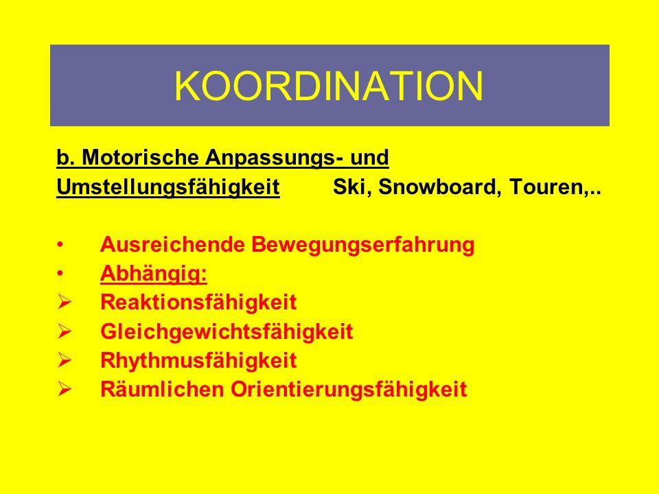 KOORDINATION b. Motorische Anpassungs- und