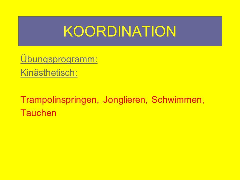 KOORDINATION Übungsprogramm: Kinästhetisch: