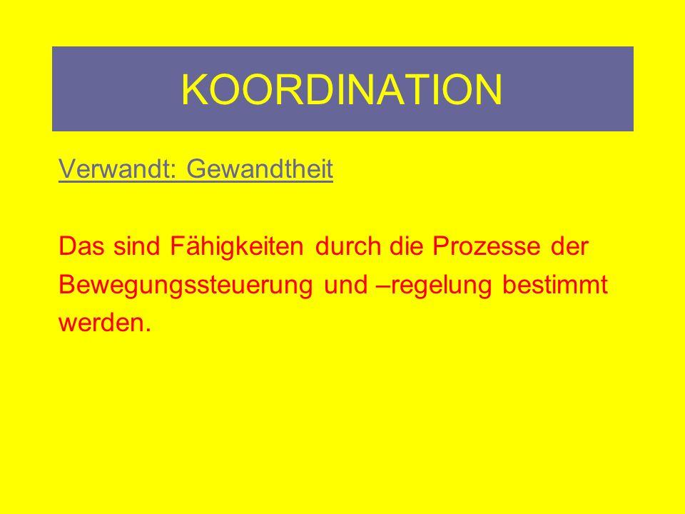 KOORDINATION Verwandt: Gewandtheit
