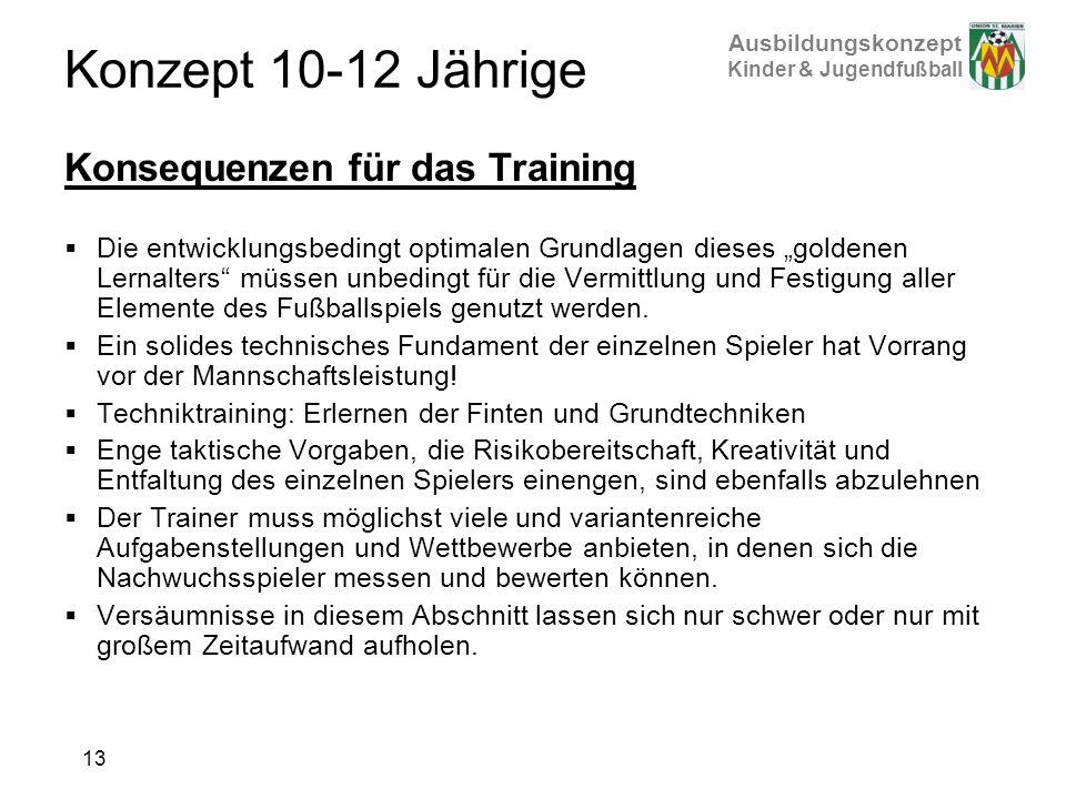 Konzept 10-12 Jährige Konsequenzen für das Training