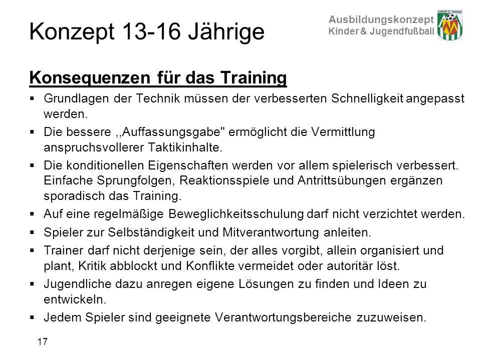 Konzept 13-16 Jährige Konsequenzen für das Training