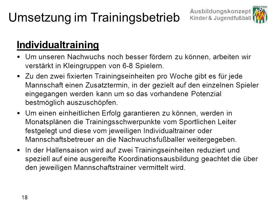Umsetzung im Trainingsbetrieb