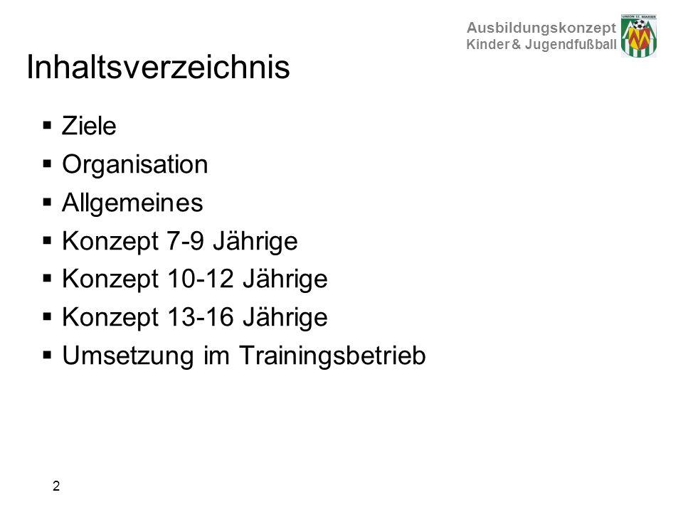 Inhaltsverzeichnis Ziele Organisation Allgemeines Konzept 7-9 Jährige