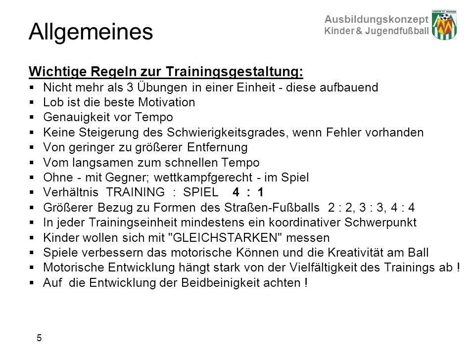 Allgemeines Wichtige Regeln zur Trainingsgestaltung:
