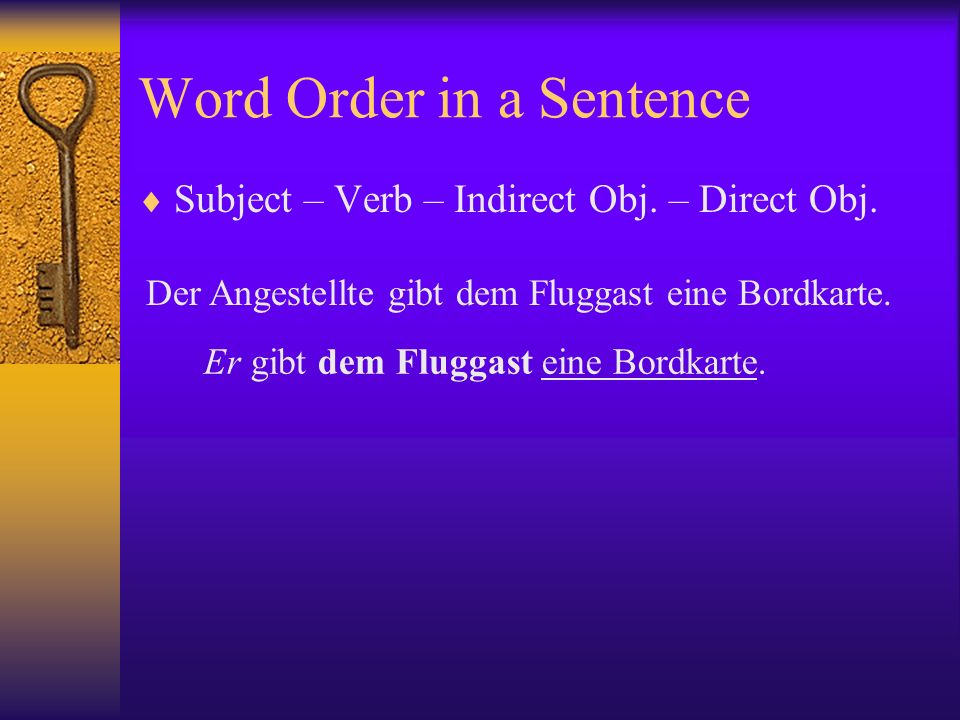 Word Order in a Sentence