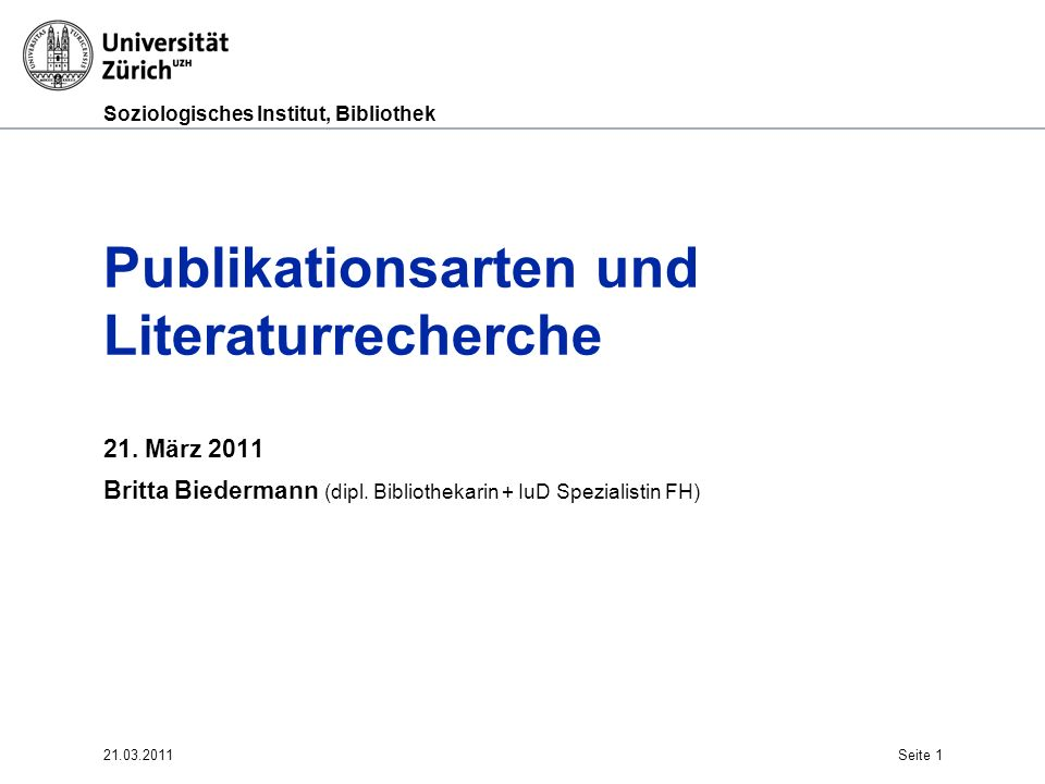 Publikationsarten und Literaturrecherche