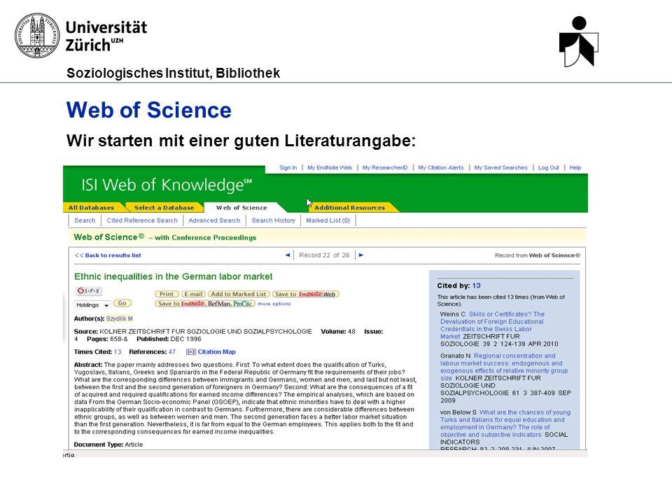 Web of Science Wir starten mit einer guten Literaturangabe: