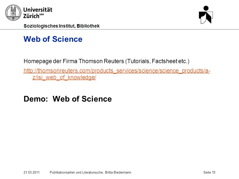 Web of Science Demo: Web of Science