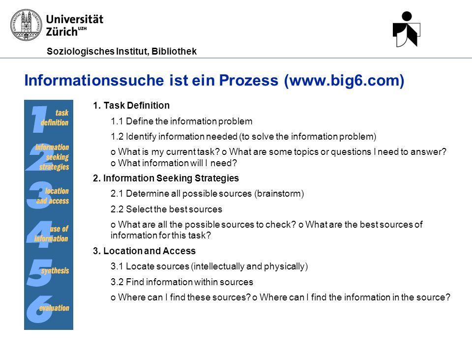 Informationssuche ist ein Prozess (www.big6.com)