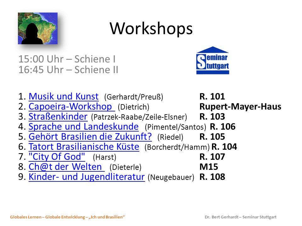 Workshops 15:00 Uhr – Schiene I 16:45 Uhr – Schiene II