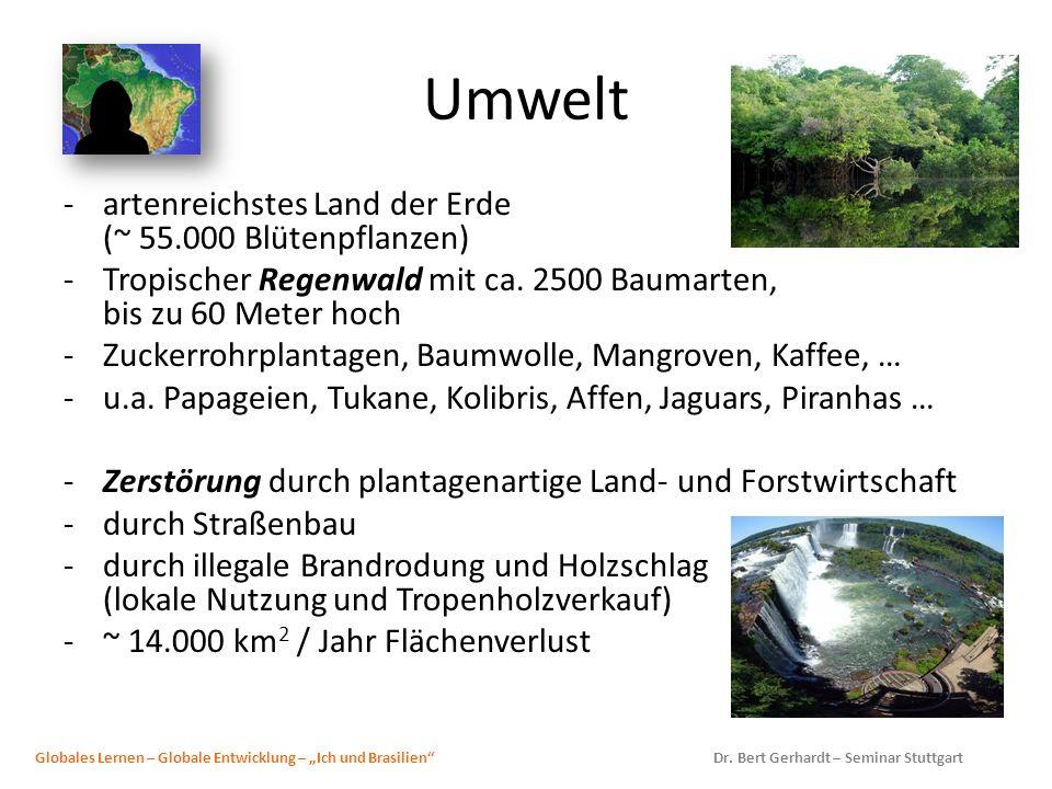 Umwelt artenreichstes Land der Erde (~ 55.000 Blütenpflanzen)