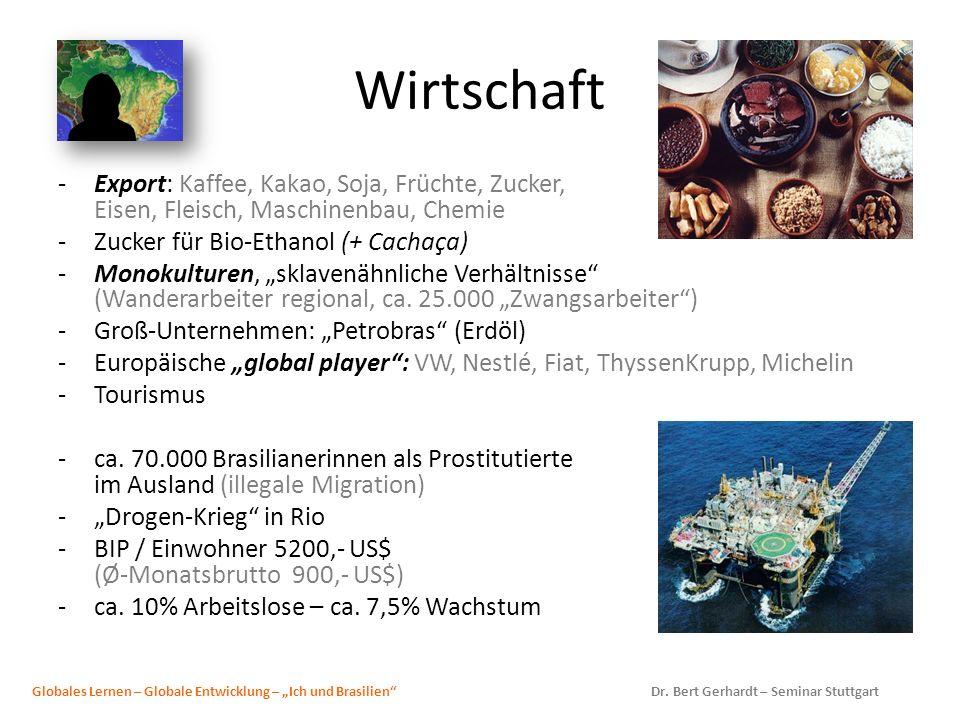 Wirtschaft Export: Kaffee, Kakao, Soja, Früchte, Zucker, Eisen, Fleisch, Maschinenbau, Chemie. Zucker für Bio-Ethanol (+ Cachaça)