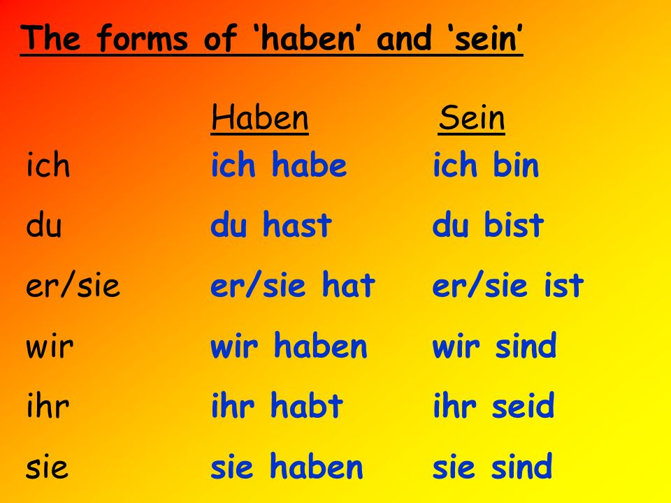The forms of 'haben' and 'sein'
