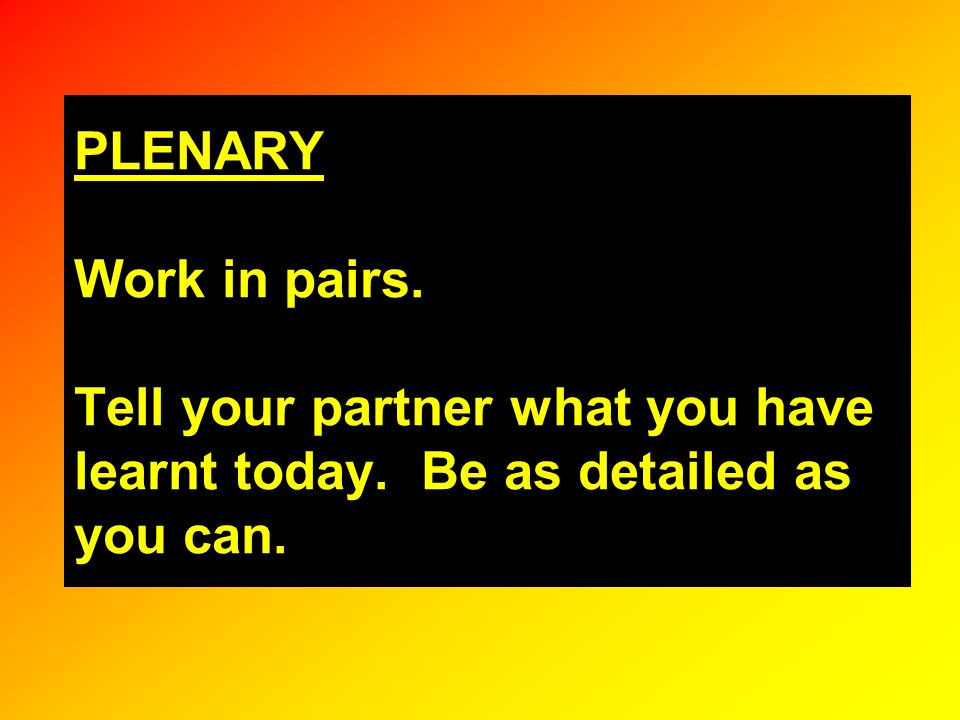 PLENARY Work in pairs. Tell your partner what you have learnt today